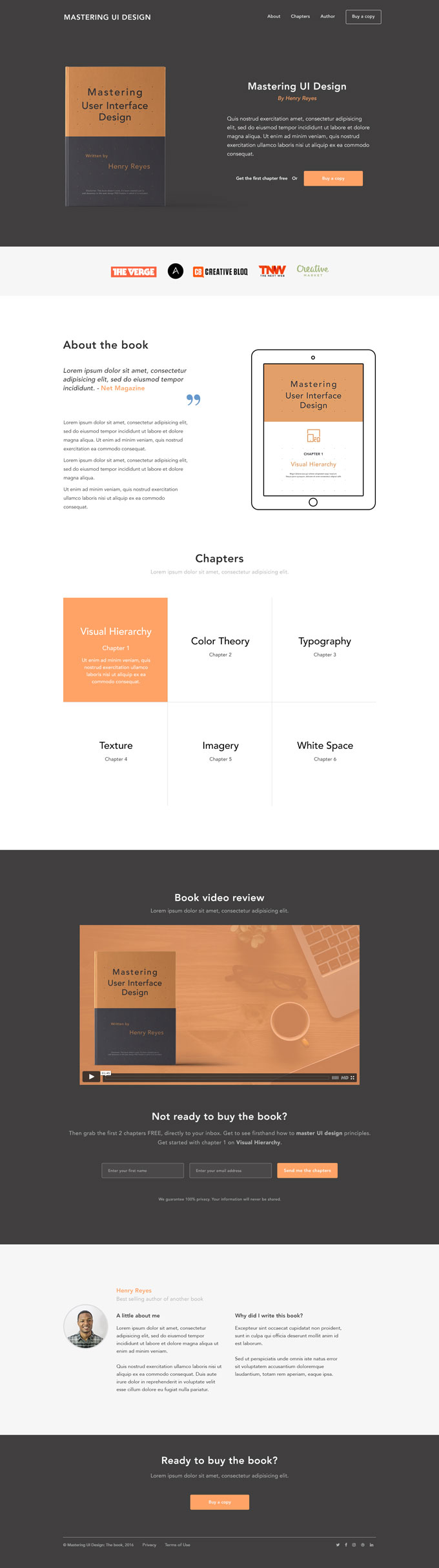 Mastering ebook landing page PSD template preview