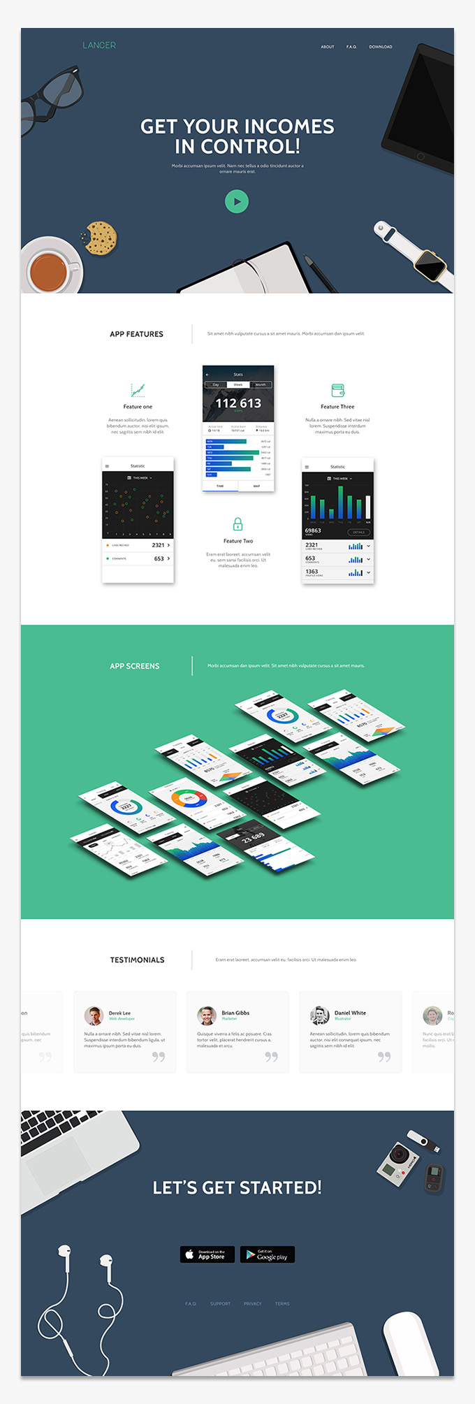 Lancer - Mobile app landing page PSD template preview
