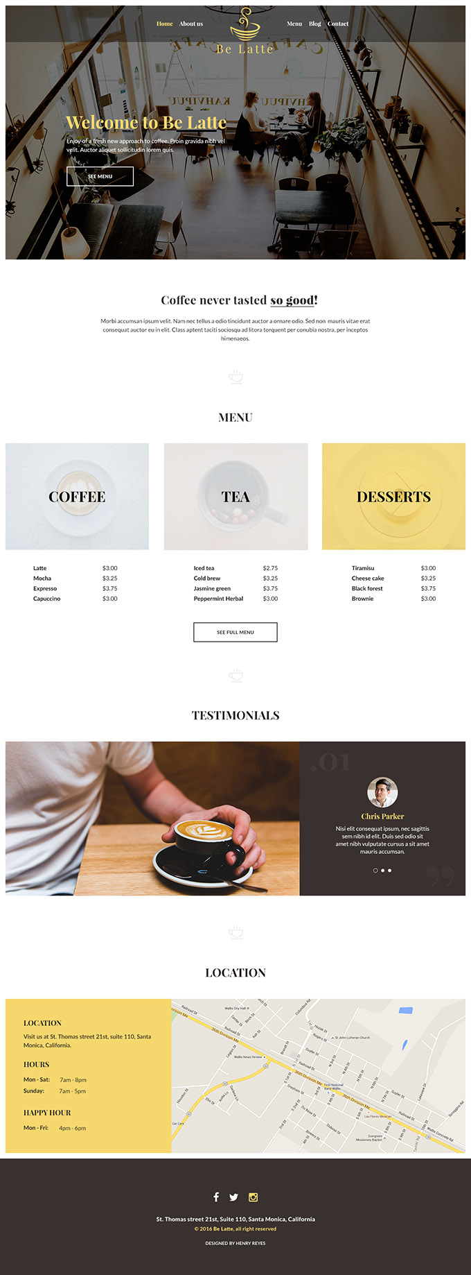 Be Latte Coffee shop PSD web template preview