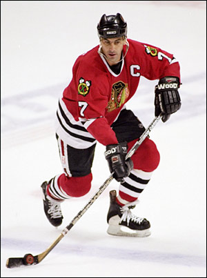 Chris Chelios with the Chicago Blackhawks