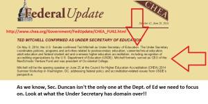 It's the Under Secretary for U.S. Dept. of Education who sets post secondary policy!