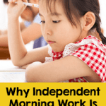 Student thinking while working on her independent morning work in a quiet classroom setting.