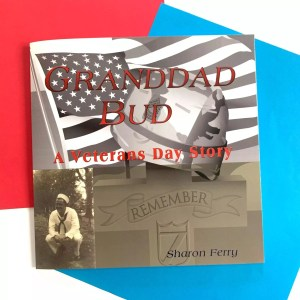 """Image of veterans day book cover showing a sailor in the bottom left corner and an american flag across the cover with a cross gravestone that says """"remember"""""""