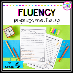 Fluency Progress Monitoring product cover for first grade showing reading fluency product