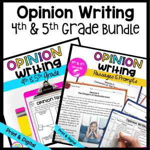 Opinion Writing Bundle Cover for 4th & 5th Grade, showing writing and passages and prompts product covers in printable and digital formats