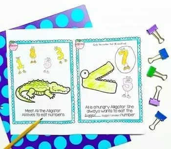 Hungry Alligator anchor chart page explaining greater than and less than surrounded by pencil and binder clips