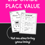 2nd grade place value pin showing images of worksheets