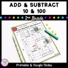 Cover for addition and subtraction resource showing 2nd grade math worksheets