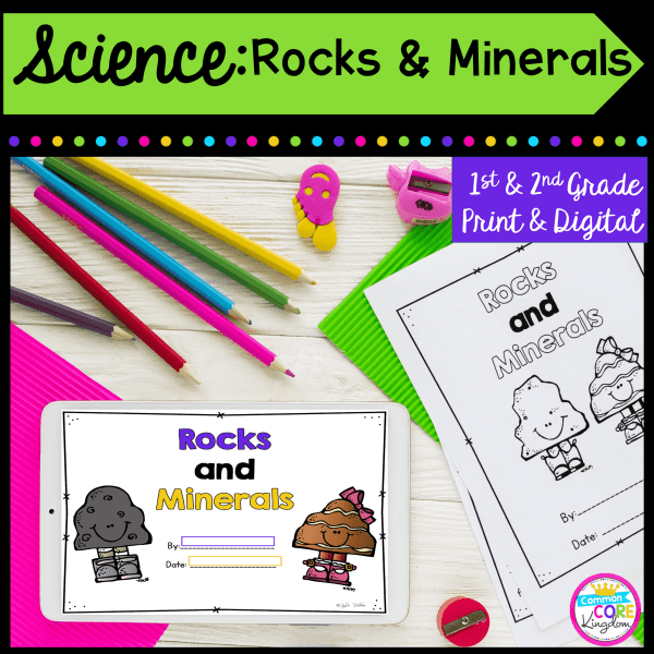 1st and 2nd Grade Science: Rocks and Minerals cover showing printable and digital resources