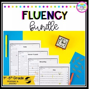 Fluency bundle cover showing printed reading fluency passages across various 1st through 5th grade reading levels and a clock in the background