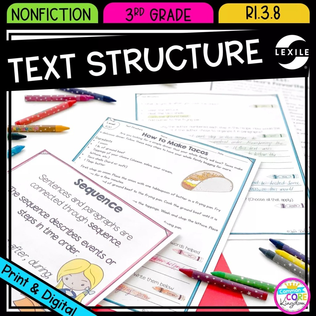 Connecting Sentences and Paragraphs for 3rd grade cover showing printable and digital worksheets