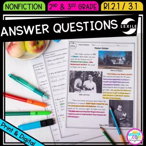 Ask and Answer Questions for 2nd and 3rd grade cover showing printable and digital worksheets