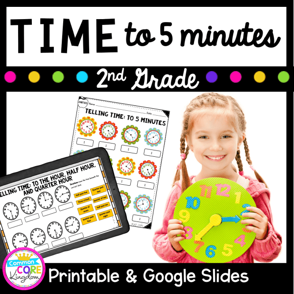 Telling Time to 5 minutes cover for resource showing girl holding clock and worksheets for learning time