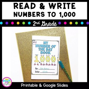 Resource Cover for 2nd grade showing a math worksheet and text saying read and write numbers to 1000