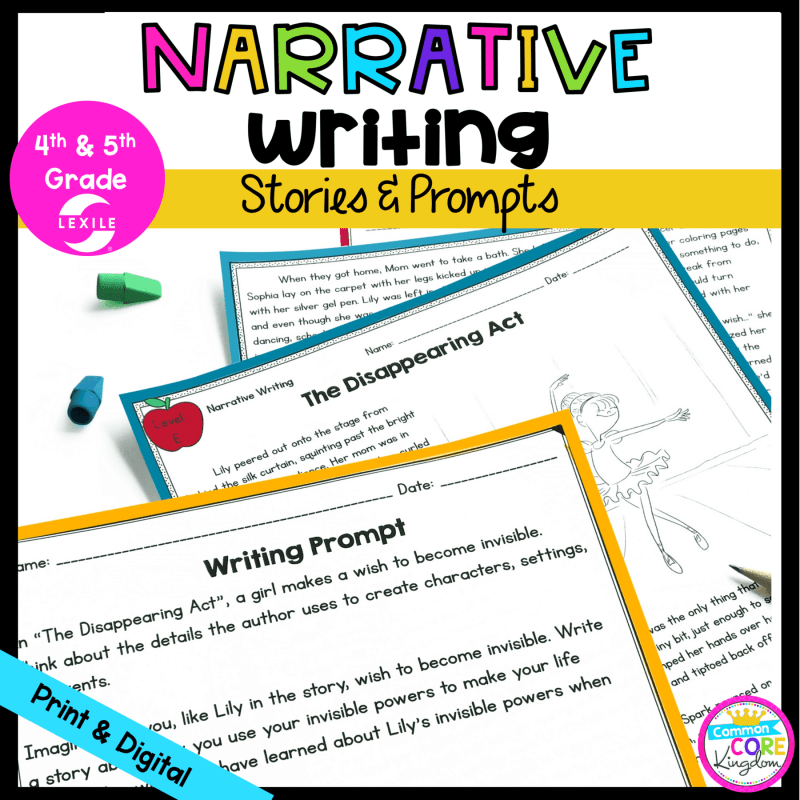 Narrative Writing cover for 4th & 5th grade showing 3 pages of stories and prompts in printable and digital formats
