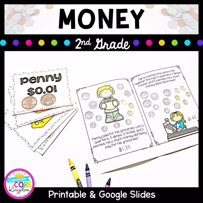 Cover for 2nd grade money unit showing money worksheets where students learn to count and use money