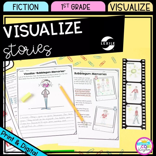 Visualize Stories for 1st grade cover showing printable and digital reading passages
