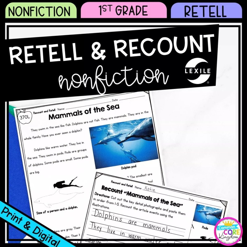 Retell & Recount for 1st grade cover showing printable and digital worksheets