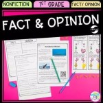 Cover of Fact and Opinion in nonfiction resource for first grade showing images of reading passages and activities.
