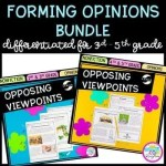 Opposing Viewpoints cover showing images of reading passages and question resource bundle focused on teaching 2nd grade, 3rd grade, 4th grade, and 5th grade how to understand different viewpoints.