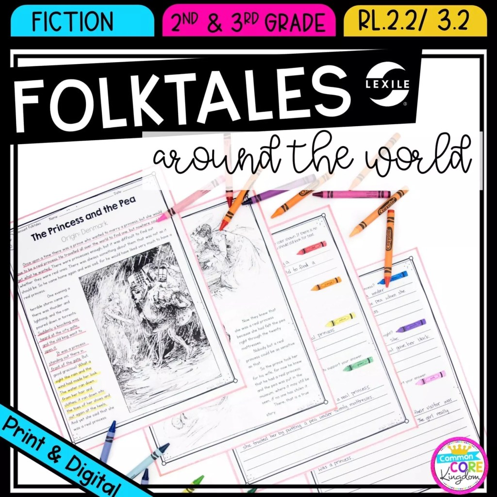 Recount and retell folk tales for 2nd & 3rd grade cover showing printable and digital worksheets