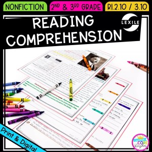 Comprehending Informational & Nonfiction Text for 2nd and 3rd grade cover showing printable and digital worksheets