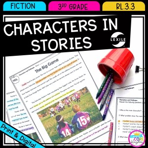 Describe Characters in a Story for 3rd grade cover showing printable and digital worksheets
