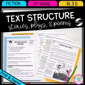 Text Structure in Stories Plays Poems for 3rd grade cover showing printable and digital worksheets