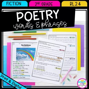 Words and phrases in poetry for 2nd grade cover showing printable and digital worksheets