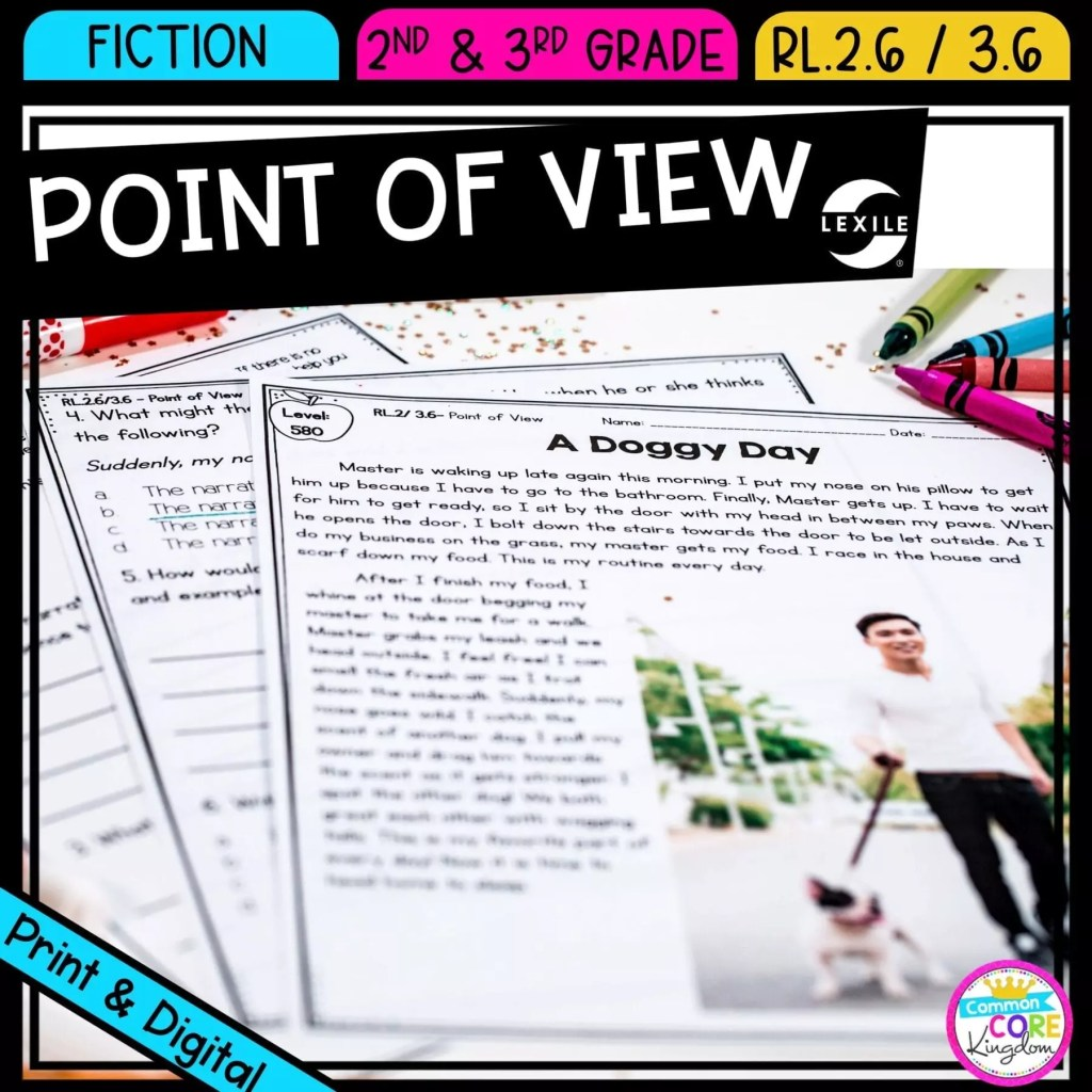 Point of view for 2nd and 3rd grade cover showing printable and digital worksheets