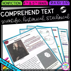 Reading Comprehension in Nonfiction for 4th & 5th grade cover showing printable and digital worksheets