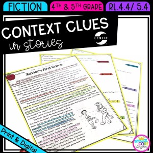 Context clues in stories for 4th & 5th grade cover showing printable and digital worksheets