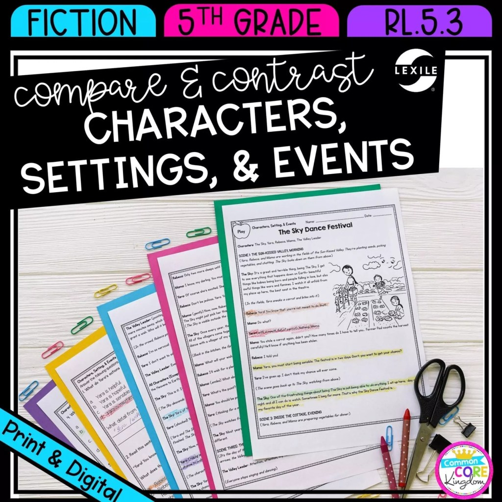 Compare and Contrast Characters, Settings, and Events for 5th grade cover showing printable and digital worksheets