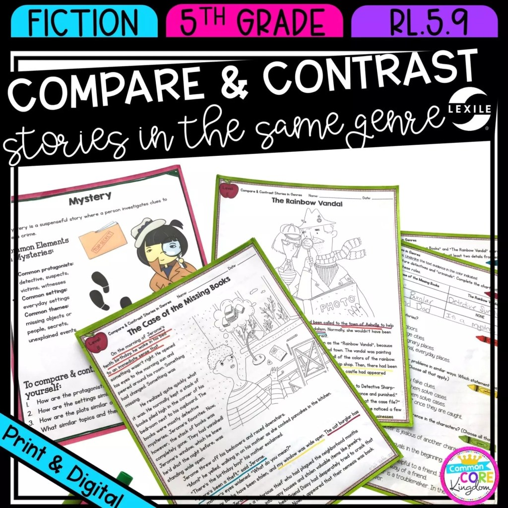 Compare & Contrast Stories in the Same Genre for 5th grade cover showing printable and digital worksheets