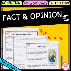 Fact and Opinion cover for 4th and 5th grade, showing printable and digital worksheets