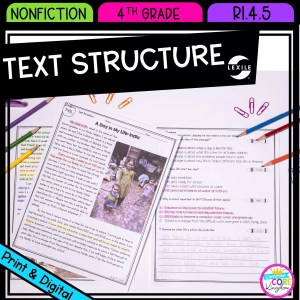Text Structure in Nonfiction for 4th grade cover showing printable and digital worksheets