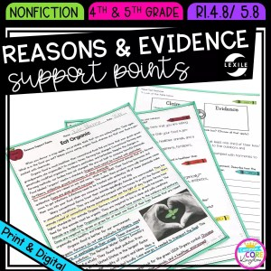 Reasons and Evidence Support Points for 4th & 5th grade cover showing printable and digital worksheets
