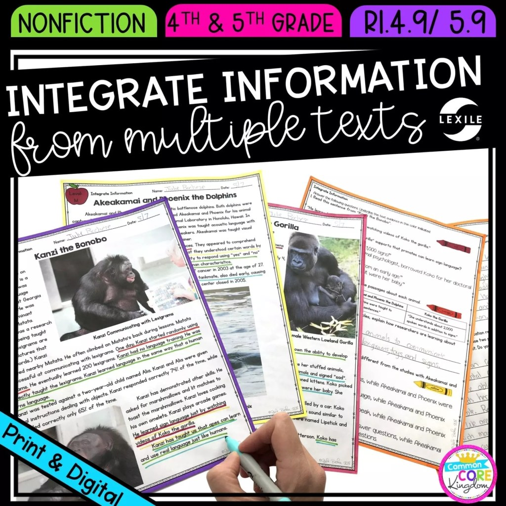 Integrate Information from Multiple Texts for 4th & 5th grade cover showing printable and digital worksheets