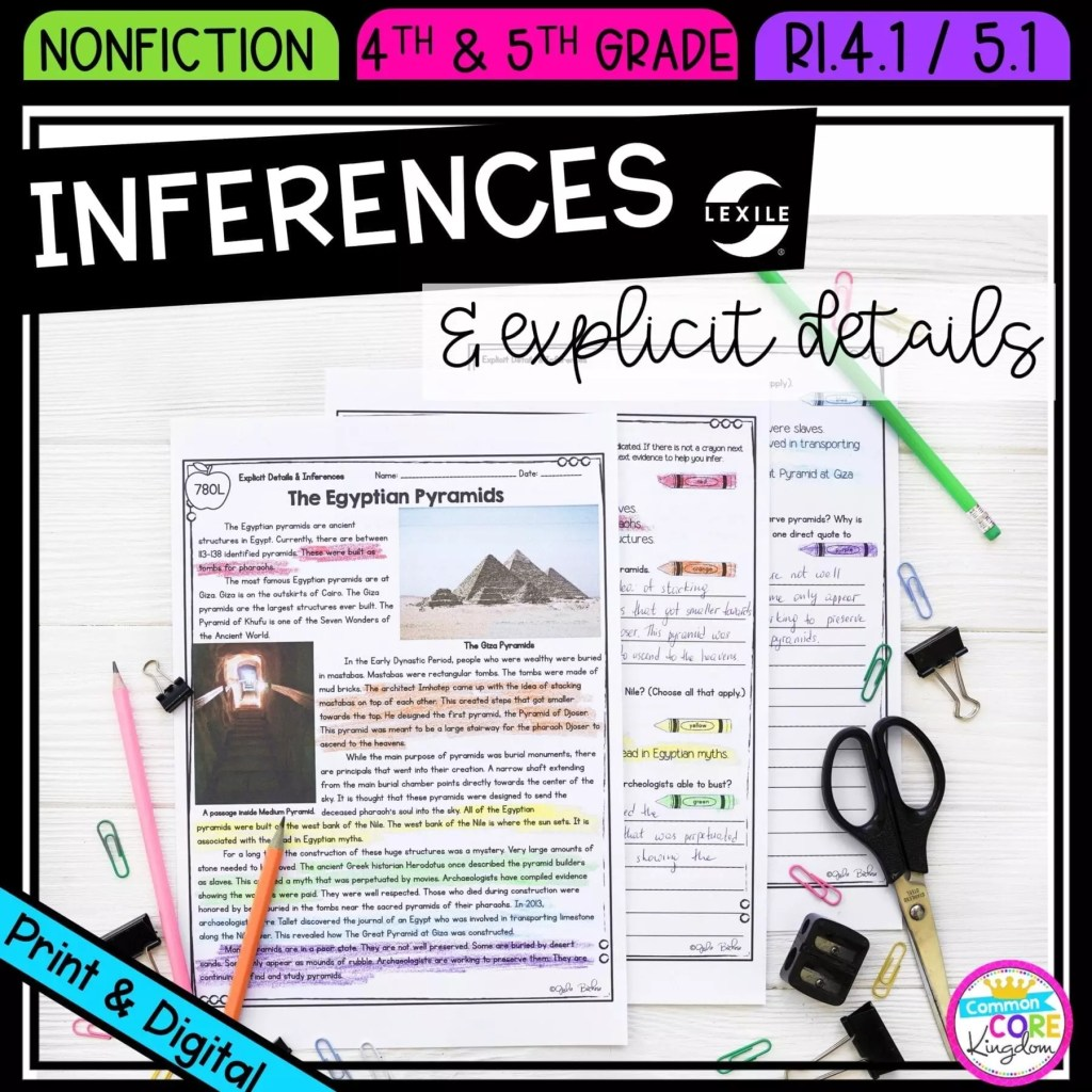 Making Inferences and Explicit Details for 4th & 5th grade cover showing printable and digital worksheets