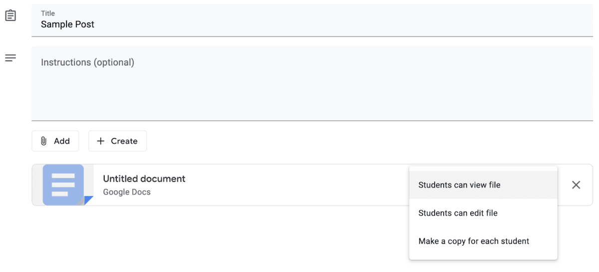 Screenshot showing how to assign assignments to students in Google Classroom