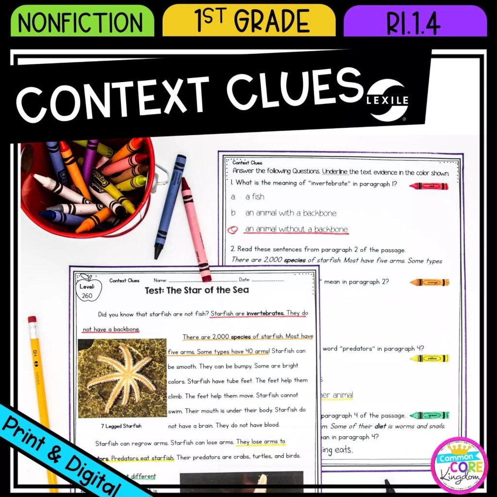 Context Clues in Nonfiction Text for 1st grade cover showing printable and digital worksheets
