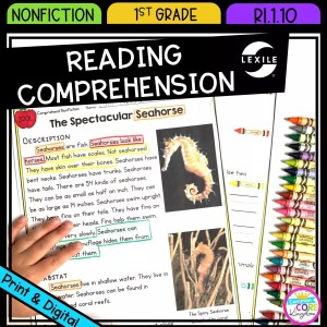 Nonfiction Reading Comprehension for 1st grade cover showing printable and digital worksheets