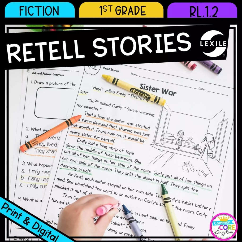Retell Stories for 1st grade cover showing printable and digital worksheets