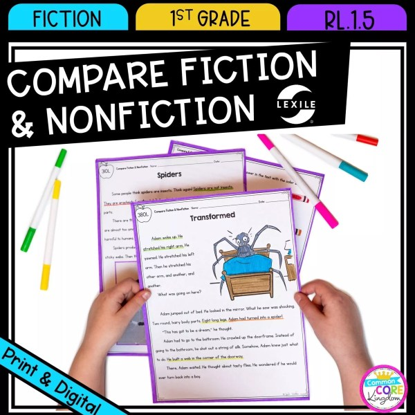 Compare Fiction and Nonfiction for 1st grade cover showing printable and digital worksheets