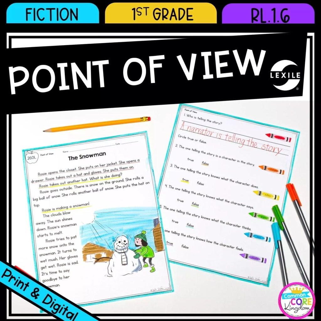 Point of View for 1st grade cover showing printable and digital worksheets