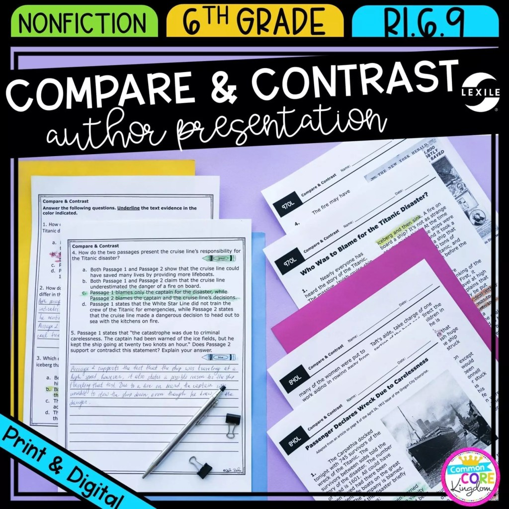 Compare & Contrast Author Presentation for 6th grade cover showing printable and digital worksheets