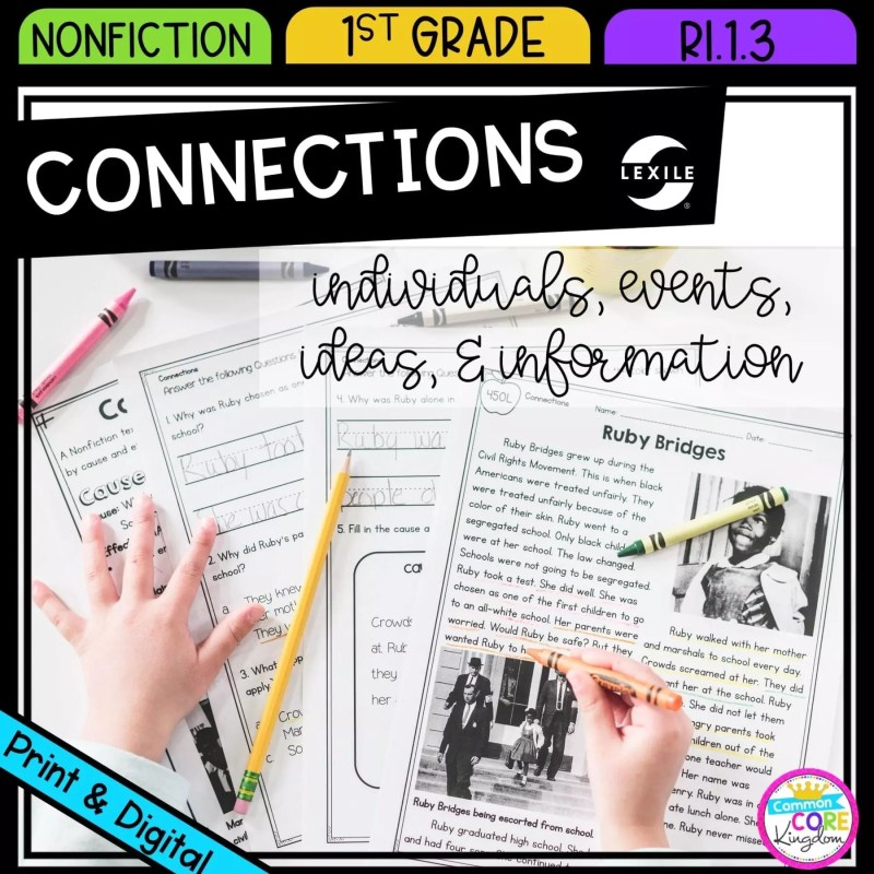 Connections Between Individuals, Events, Ideas, and Information for 1st grade cover showing printable and digital worksheets