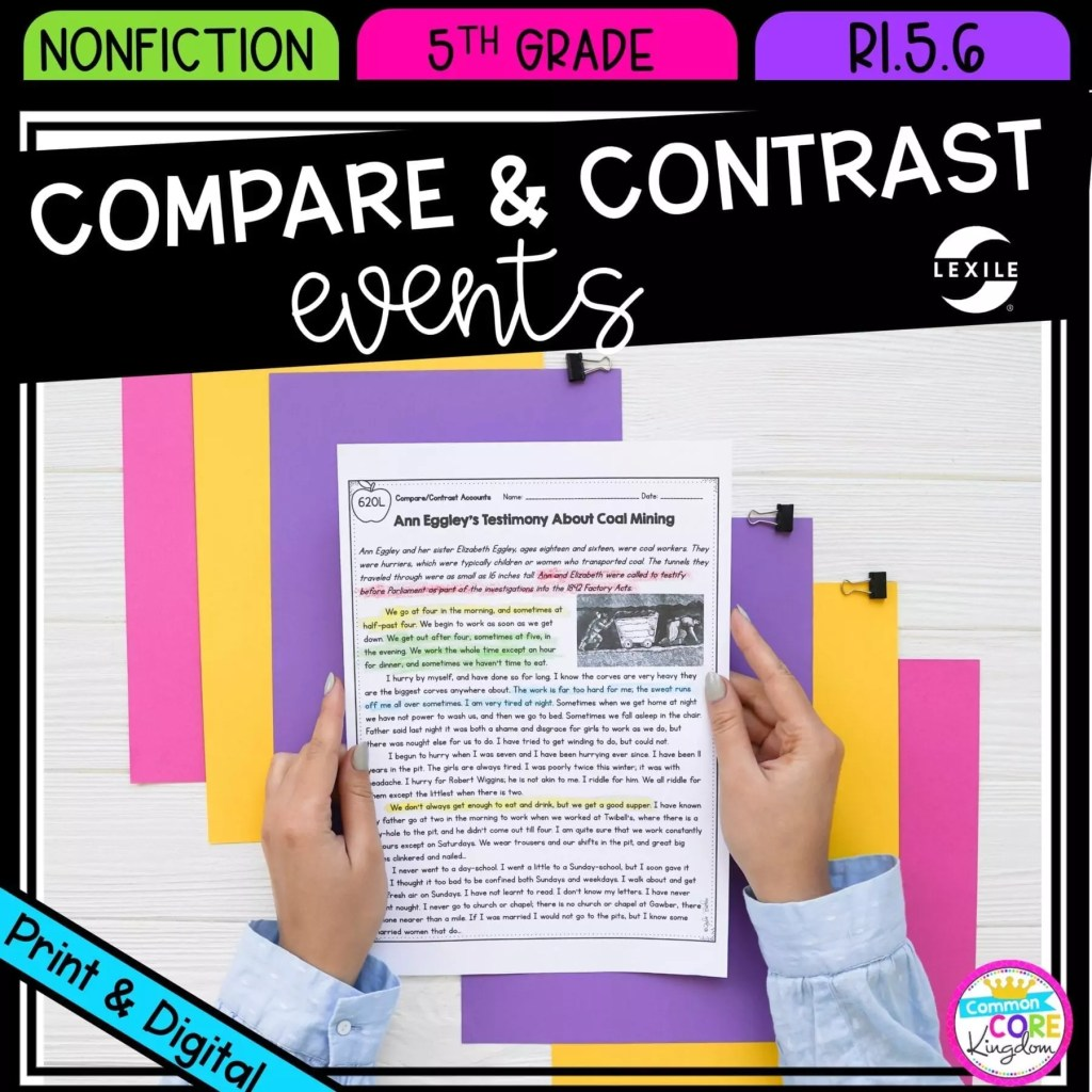 Compare & Contrast Events from Multiple Accounts for 5th grade cover showing printable and digital worksheets