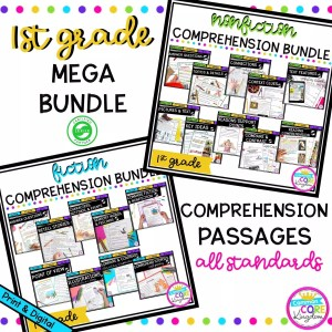 1st Grade Mega Reading Comprehension Bundle cover showing multiple product covers with various printable and digital worksheets