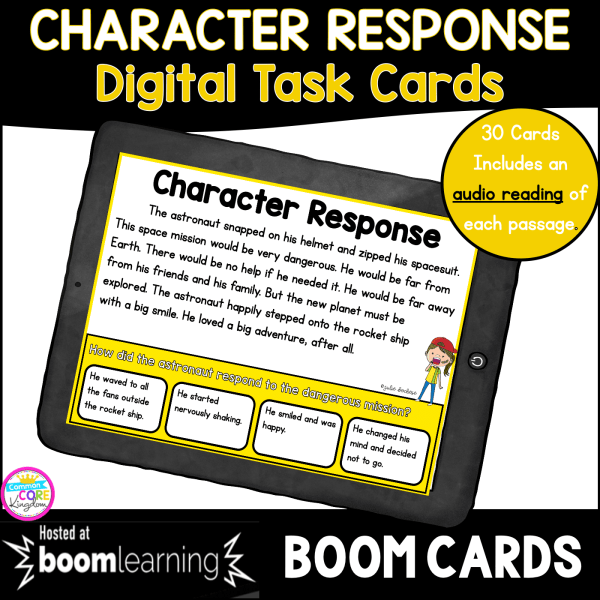 Cover of Character Response Digital Task Cards for Boom Cards with tablet and image of passage with question